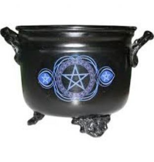 Metal Cauldron With a Blue Pentacle Motif